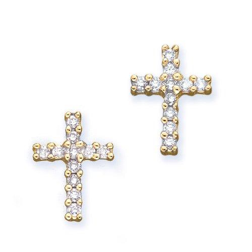 10K Yellow Gold 1/4 ct. Diamond Cross Earrings