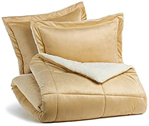 Pinzon Plush Hypoallergenic Diamond Stitch Comforter Set - Full/Queen, Camel