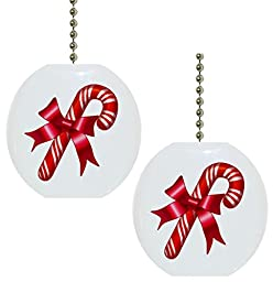 Set of 2 Candy Cane Christmas Solid CERAMIC Fan Pulls