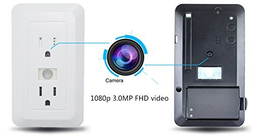Fuvision Electrical Outlet Hidden Spy Camera Pir Motion Activated DVR 1080P FHD Covert Nanny Camera Recorder With Up To 15 Day Battery Life and 16GB SD Card Home Security Video Surveillance Spy DVR