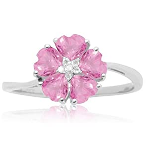 10k White Gold Created Pink Sapphire and Diamond-Accent Flower Ring by Amazon Curated Collection