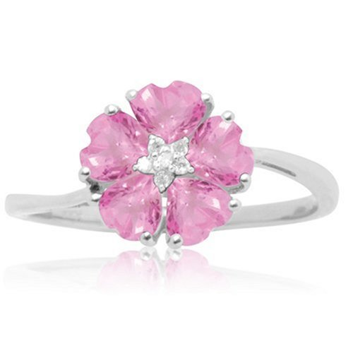 10k White Gold Created Pink Sapphire and Diamond Flower Ring, Size 7