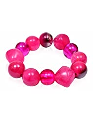 Trendy Baubles Hot Pink Glass Beads Bracelet For Women