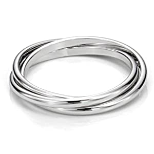 Sterling Silver Triple Interlocked Rolling High Polish Plain Dome Tarnish Resistant Wedding Band Ring, Nickel Free from Metal Factory