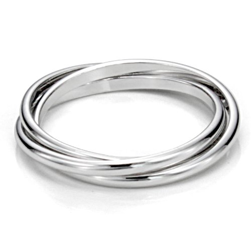 Sz 7.0 Sterling Silver Triple Interlocked Rolling High Polish Plain Dome Tarnish Resistant Wedding Band Ring (Interlocking Rings compare prices)