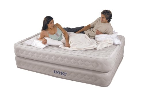 Queen Raised Air Mattress Day Bed w/ Quilted Air Pockets & Built-in Inflation Pump