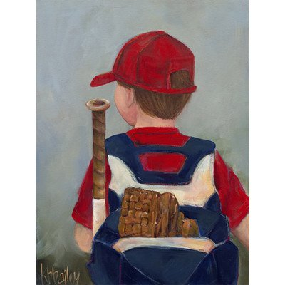 "Oopsy Daisy NB20727 Lil' Slugger by Kristina Bass Bailey Canvas Wall Art, 24"" by 30"""