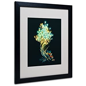 Trademark Fine Art Electric Tree by Budi Satria Kwan Matted Framed Art with Black Frame, 16 by 20-Inch