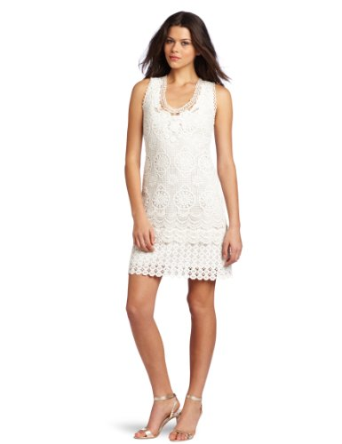 Yoana Baraschi Women's Venice Patchwork Art Shift Dress, Nurse White, 2