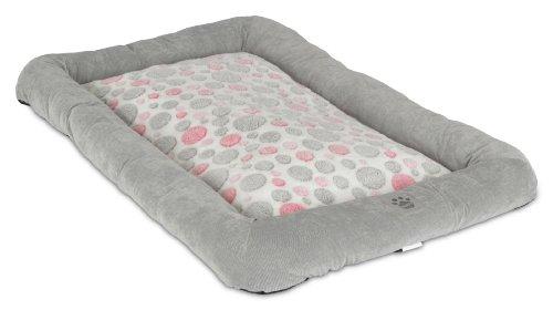Precision Pet Low Bumper Corduroy Bed, Size 4000, Pink Spot Plush Gray front-933807