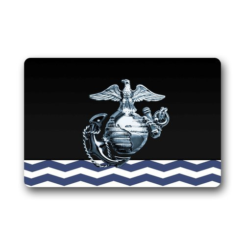 "Anhome Blue And White Chervon Printed Metal Us Marine Corps Doormats 23.6""X 15.7"""