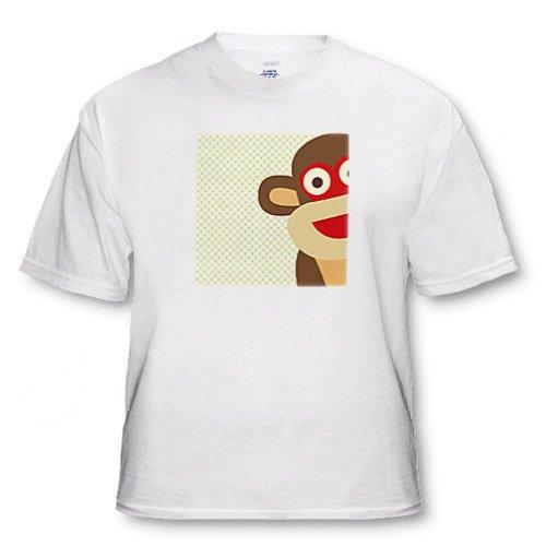 PS Fun Art - Sock Monkey Peeking Around Corner - Cute Animal Art - T-Shirts