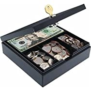 Heavy Duty Steel Drawer Safe, Key Lock, Black