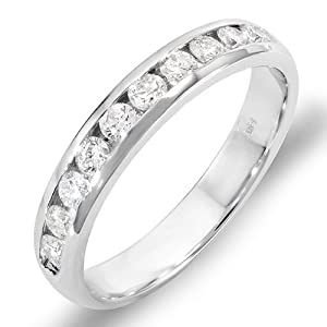 0.55 Carat 14k White Gold Round Diamond Men's Wedding Ring