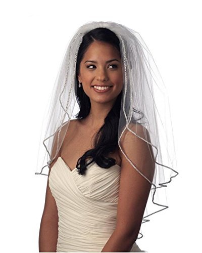 Top-Sexy 2T 2 Tier Bling Diamonds Lined Short Wedding Bridal Veil 07 (White)