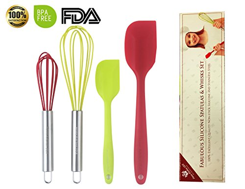 SET OF 4 Professional Quality Silicone Whisks , Spatulas For Cooking .Bright Red and Green Colors. Stainless Steel Coated, Heat Resistant, Dishwasher Safe (Silicone Whisk And Spatula Set compare prices)