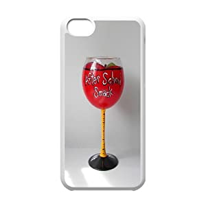 [Luo diedie]Call Phone Case for iPhone 5c White with Red Wine Glass Series of Pattern on