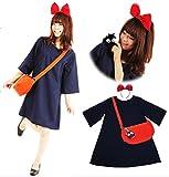 魔女っ娘ワンピ キキ 風 コスプレ レディース 衣装 4点 セット ( ワンピース カチューシャ バッグ くろねこ ) ハロウィン コスチューム (フリーサイズ)