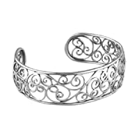 Relios Sterling Silver Filigree Cuff Bracelet, Size Medium by Relios
