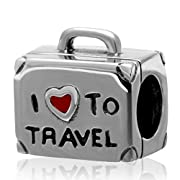 Travelers Luggage 925 Sterling Silver Love Travel Bead Fit Pandora Charms