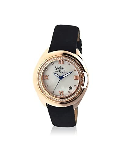 Sophie and Freda Women's SF1005 Belize Black/White/Rose Leather Watch