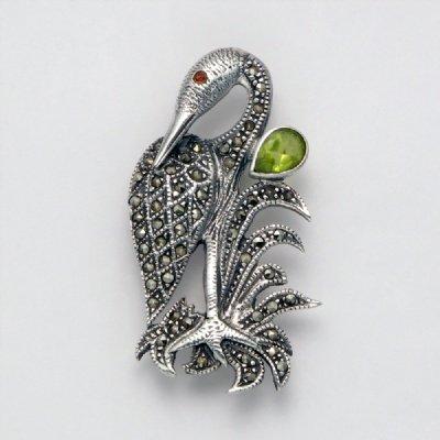 Marcasite Bird with Peridot Pin