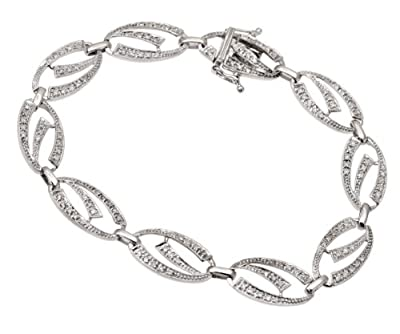 Ariel 9ct White Gold 0.65ct Diamond Fancy Oval Link Bracelet