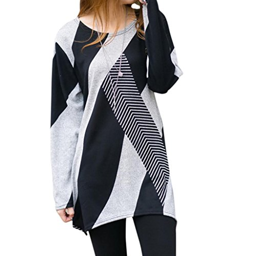 Hee Grand Women Long Sleeve Loose Stripes T-Shirts Casual Oversize Tops Black