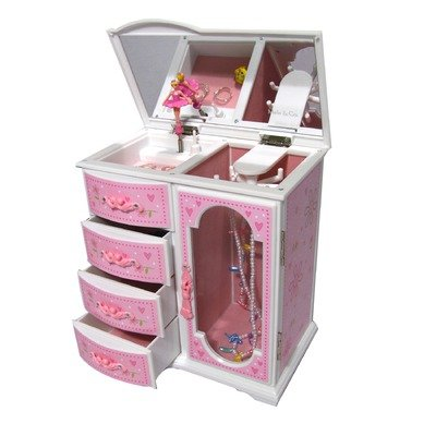 Girl's Glitter-Daisy Upright Musical Ballerina Jewelry Box