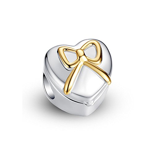 Glamulet Jewelry 925 Sterling Silver Yellow Gold Heart Bow Classy Ring Box Charm Fits Pandora (Cupid Bow And Feathers)