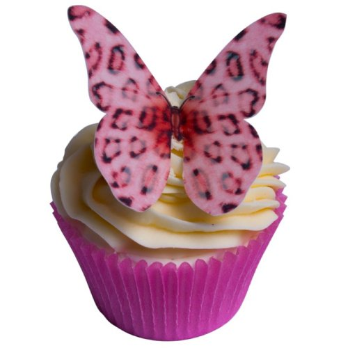 12 Pink Leopardenfell Design Essbare Oblaten Schmetterlinge / 12 Pink Leopard Skin Design Edible Wafer Butterflies