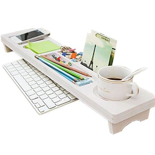 【 きれい スッキリ 】 キーボード シェルフ デスク 整理 整頓 大人 収納 上手 机 上 台 ホワイト MI-SEITON
