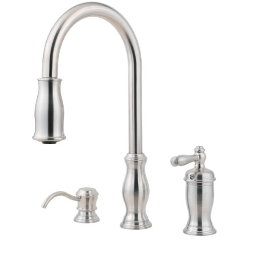 Pfister Hanover 1 Handle 2 Or 3 Hole Pull Down Kitchen Faucet W Soap Dispenser In Stainless Steel Gooamaoemornno