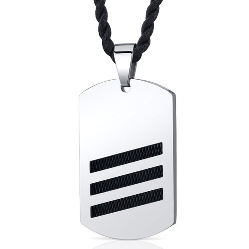 Cosmopolitan Chic: Unisex Stainless Steel Dog Tag Pendant Necklace with Black Steel Inlay Free Shipping