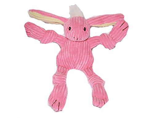 HuggleHounds Plush Corduroy Durable Knotties Bunny Dog Toy, Mini