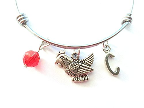 Chicken / Hen themed personalized bangle bracelet. Antique silver charms and a genuine Swarovski birthstone colored element. (Alex And Ani Chicken compare prices)