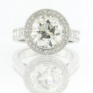 7.09ct Antique European Round Cut Diamond Engagement Anniversary Ring