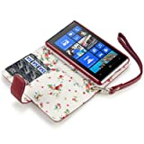 Nokia Lumia 820 Premium PU Leather Wallet Case with Floral Interior (Red)