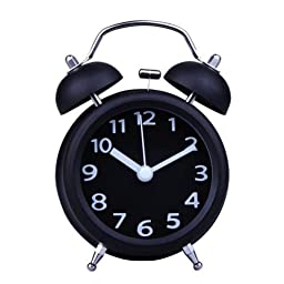 Small Fresh Style 4 inch Twin Bell Alarm Clock Mechanical Loud Stainless Steel#Black