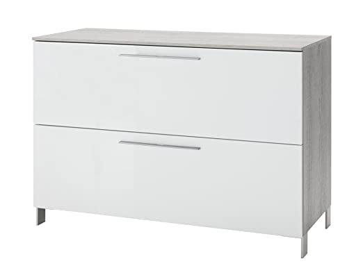Cassettiera moderna con cassetto e anta a ribalta color cemento con frontali bianchi laccati lucidi