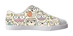 Renben Lovely Nonslip Owl Kids Girl\'s Canvas Shoes Lace-up Low-top Sneakers Fashion Running Shoes