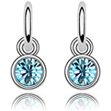 Lily Jewellery Ladies Silver Tone Fashion Blue Crystal Drop Earrings for Women