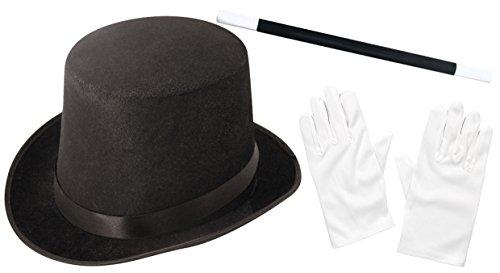 Ilovefancydress - Set di accessori per costume da mago composto da cappello nero + bacchetta magica, per bambini e adulti