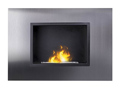 Vicenza Ventless Wall Mounted Recessed Alcohol Fireplace. Modern Indoor Decor for Warmth and Flame Ambiance. Brushed Steel Finish.