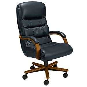 Horizon High Back Leather Executive Chair Ebony Leather/Vinyl/Dark Cherry Base