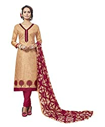 Women Icon Presents Beige Embroidered Un-Stitched Dress Material WICKFVSIDC781002