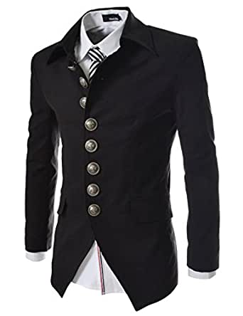 737 THELEES Mens Luxury UNIQUE Style Slim fit 8 Button Front Blazer Jacket BLACK Chest 38(Tag size M)