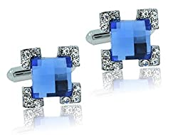 The Jewelbox Square Faceted Blue Stone American Diamond CZ Rhodium Plated Brass Cufflink Pair for Men