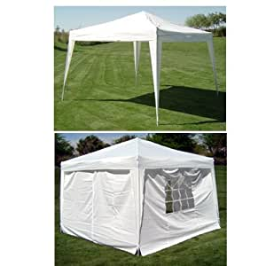 New 10' X 10' EZ Pop Set Up Canopy Tent Gazebo Includes 4 Sidewalls White