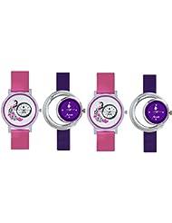 FridaPink And Purple DesignerAnalogCasualWatchwithComboof4 ForWomenandGirls